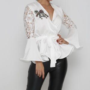 Peplum belted applique blouse